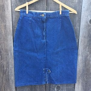 Vintage 80s-90s Denim Pencil Skirt, Brooks